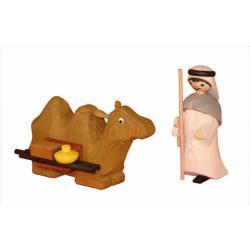 Ulmik - Kameltreiber mit liegendem Kamel gebeizt 13cm