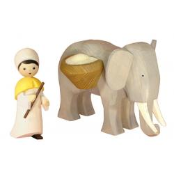 Ulmik - Elefantentreiber groß 2-teilig gebeizt 13 cm