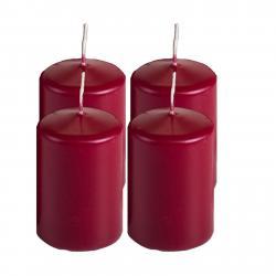 Stumpenkerze, 60 mm, burgund, 4 Stück