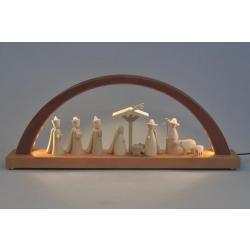 Richard Glässer - Schwibbogen Christi Geburt, Innen-LED-Bel., neues Naturholzdesign hell