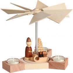 Seiffener Volkskunst eG - Pyramide Hexagonum Weihnachtsmann mit Schlitten, natur