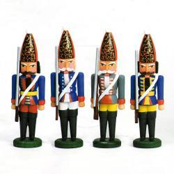 Walter Werner - Miniatur Nussknacker Preuss.Grenadiere 4 Stück sortiment