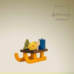 Hennig Figuren - Schlitten gelb Baumbehang*