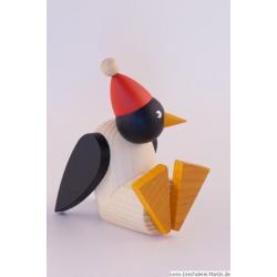 Drechslerei Martin - Pinguin klein sitzend mit Mütze