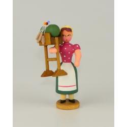 Walter Werner - Mädchen mit Klöppelständer, rot