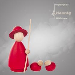 Hennig Figuren - Schäfer modern groß mit 2 Schafen natur/rot
