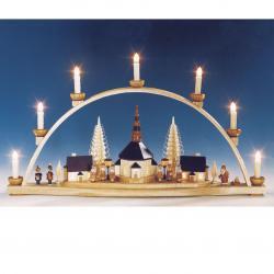 Knuth Neuber - Schwibbogen Seiffener Kirche mit beleuchteten Laternen elektr. beleuchtet