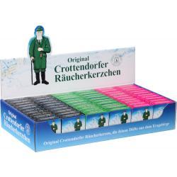Crottendorfer Räucherkerzen - Minis, Display, Weihrauch, Tanne, bunte Mischung, 60 Pack.