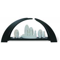 Rauta Edition FG - LED-Schwibbogen modernes Desing anthrazitgrau lackiert Krippefiguren weiß