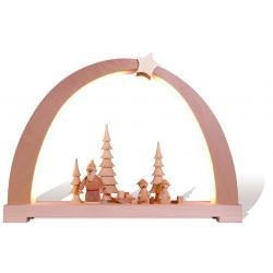 Rauta Edition FG - LED-Schwibbogen mit Weihnachtsmannbestückung natur Baum