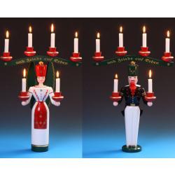 Schalling - Lichterengel und Bergmann mit Joch, farbig 40 cm