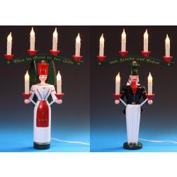 Schalling - Lichterengel und Bergmann mit Joch, 46 cm farbig, el. beleuchtet