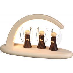 Seiffener Volkskunst eG - Bogen natur LED beleuchtet Engel , 13cm
