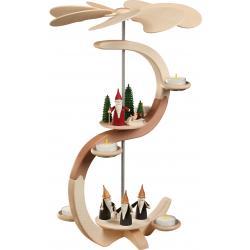 Seiffener Volkskunst eG - Pyramide S Form 2 Etagen Motive Bergwichtel und Weihnachtswichtel, 46cm