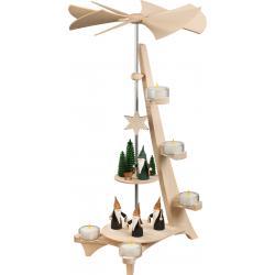 Seiffener Volkskunst eG - Pyramide L Form 2 Etagen Motive Bergwichtel und Jägerwichtel, 50cm