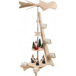 Seiffener Volkskunst eG - Pyramide L Form 2 Etagen Motive Bergwichtel und Weihnachtswichtel, 50cm