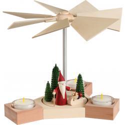 Seiffener Volkskunst eG - Pyramide Hexagonum Motiv Weihnachtswichtel mit Schlitten, 20cm
