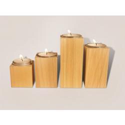 Rauta Edition FG  - Teelichtleuchter 4er Set milltelbraunes Holz